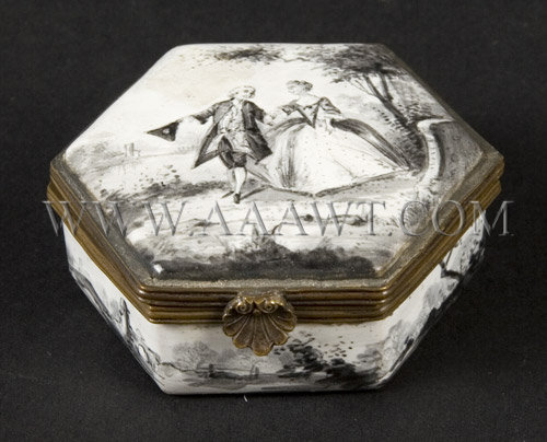 Octagonal Enamel Box  Depicting an 18th Century couple, entire view