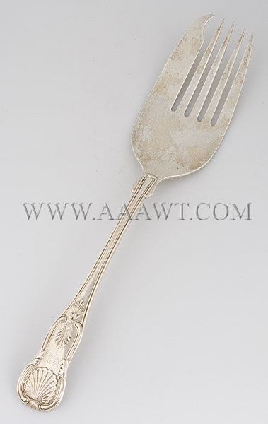 Silver Meat Fork Marked 'CMW', entire view