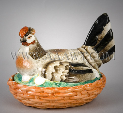 Polychrome Staffordshire Hen on Nest, entire view