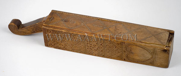 Antique Razor Box, Friesian Carved, Early, angle view