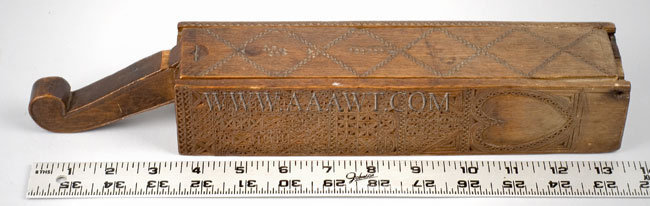 Antique Razor Box, Friesian Carved, Early, with ruler for scale