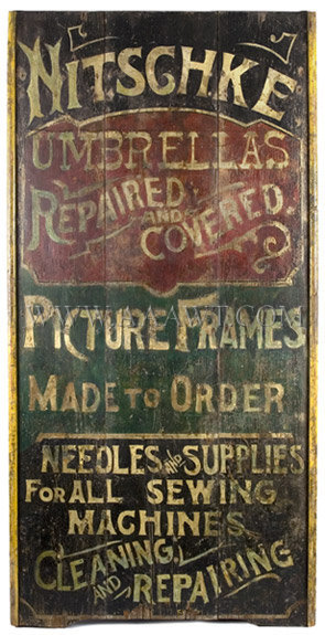 Antique Trade Sign, Nitschke, Umbrella Repair, Sewing Machine Repair, 19th Century