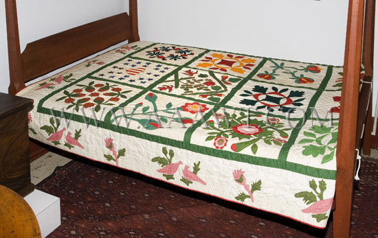 Antique Quilt, Album Quilt, 19th Century, entire view