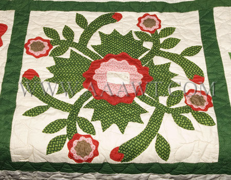 Antique Quilt, Album Quilt, 19th Century, flower square detail