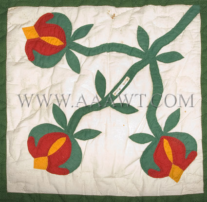 Antique Quilt, Album Quilt, 19th Century, flower bud square detail