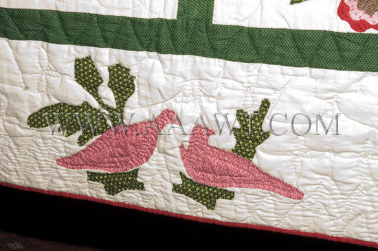 Antique Quilt, Album Quilt, 19th Century, birds detail