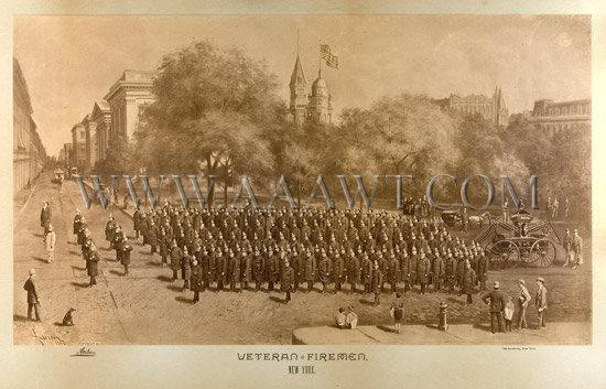 Antique Photograph, Veteran Fireman's Association, New York Fire Department, close up