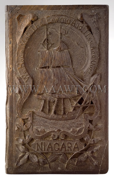 Carved Book Box  Battle Of Lake Erie Centennial  On Spine....History Of OH Perry  On Cover...Niagara-We Have Met The Enemy And They Are Ours  Circa 1913, entire view