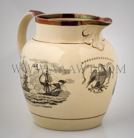 Creamware Jug; buff ground Luster trim on rim and spout, entire view