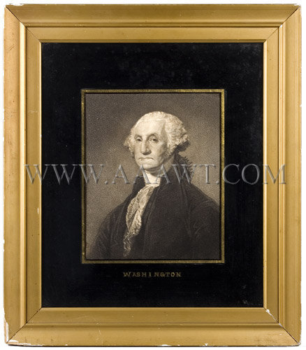 George Washington  Print in Eglomaise Mat  18th Century, entire view