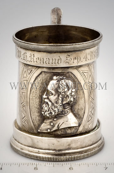 Coin Silver Presentation Cup 'W. H. Renaud Sep. 4th, 1869' With Bust of Stonewall Jackson New Orleans Circa 1869, scale view