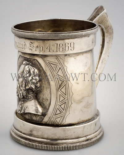 Coin Silver Presentation Cup 'W. H. Renaud Sep. 4th, 1869' With Bust of Stonewall Jackson New Orleans Circa 1869, entire view 1