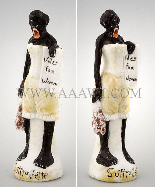 Rare Porcelain Suffragette Figure, entire view
