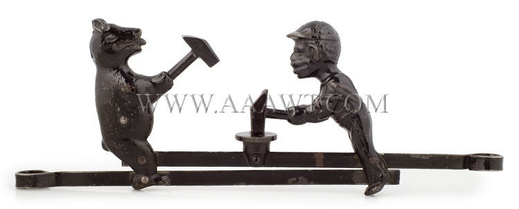 Antique Toy, Mechanical Toy, Bear and Man with Sledge Hammers, entire view