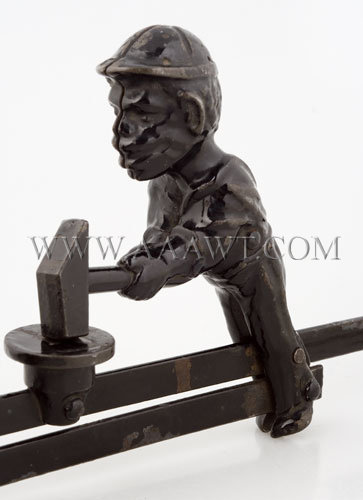 Antique Toy, Mechanical Toy, Bear and Man with Sledge Hammers, man detail
