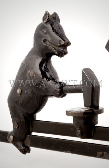 Antique Toy, Mechanical Toy, Bear and Man with Sledge Hammers, bear detail