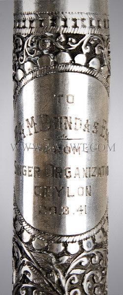 Sterling Silver Presentation Cane And case Singer Organization Ceylon, marks detail 1