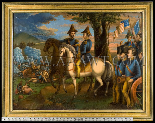 Major General Zachary Taylor, American Troops in Battle, Painting Anonymous, Circa 1847 to 1850, scale view