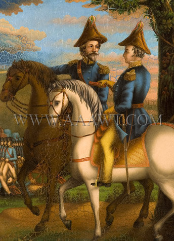 Major General Zachary Taylor, American Troops in Battle, Painting Anonymous, Circa 1847 to 1850, detail view 1