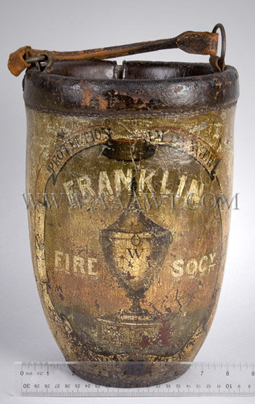 Antique Fire Bucket, Franklin Fire Society, Painted, with ruler for scale