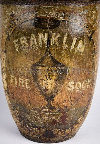 Antique Fire Bucket, Franklin Fire Society, Painted, paint detail