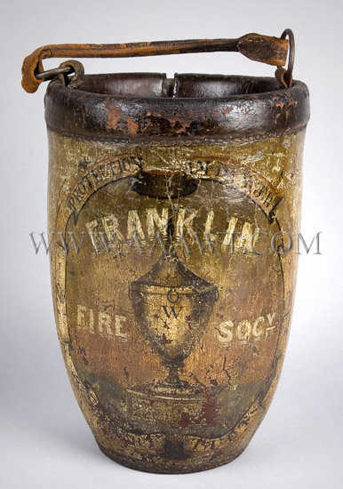 Antique Fire Bucket, Franklin Fire Society, Painted, entire view