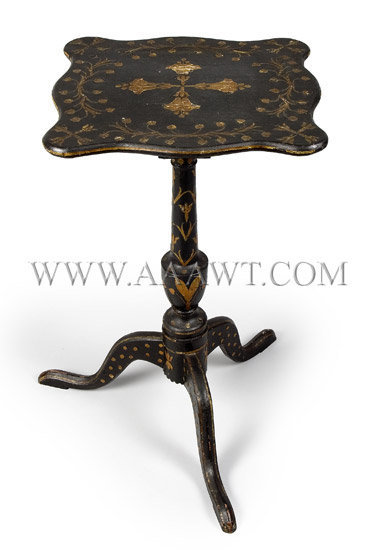 Candle Stand, Decorated Probably Massachusetts Serpentine Top Circa 1780, entire view