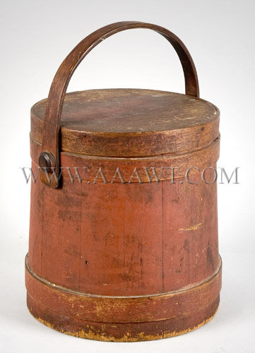 Sugar Bucket  In BEST Red Painted Surface  Tack and peg construction, entire view