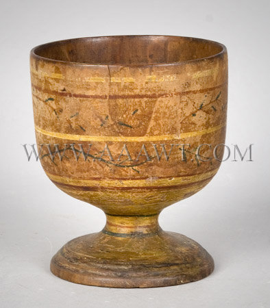 Paint Decorated Footed Treen Cup, entire view