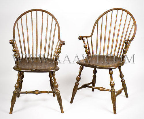 Armchairs, Pair, Windsors, Continuous Bow