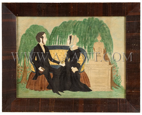 Gentleman and Lady  Seated On Upholstered Settee  Watercolor, pencil and pinprick  Anonymous  New England  1830's, entire view