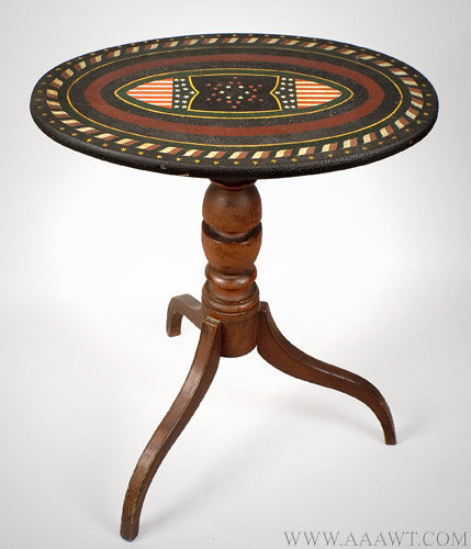 Antique Patriotic Folk Art Candlestand, Friendship, Maine, 1883, angle view