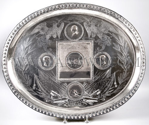 Commemorative Tray Featuring relief medallion portraits of Washington, Webster, and Clay; the Declaration of Independence with Trumbull's painting of the signing in the center...    Silver Plate, entire view