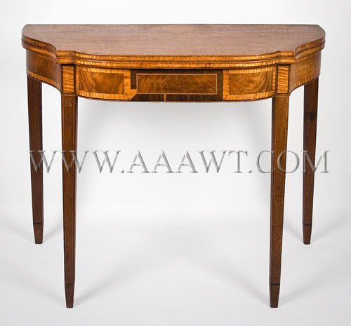 A Good Federal Mahogany Card-Table Serpentine sides; bowed front North Shore, Massachusetts or Portsmouth, New Hampshire Circa 1800, entire view 1