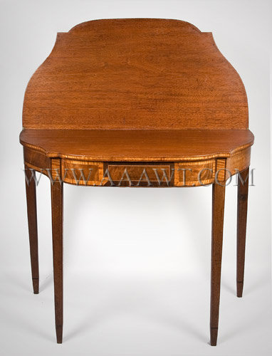A Good Federal Mahogany Card-Table Serpentine sides; bowed front North Shore, Massachusetts or Portsmouth, New Hampshire Circa 1800, entire view 2