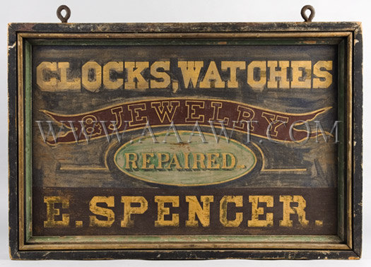 Antique Trade Sign, E. Spencer Clock, Watch and Jewelry Repair, Double Sided
