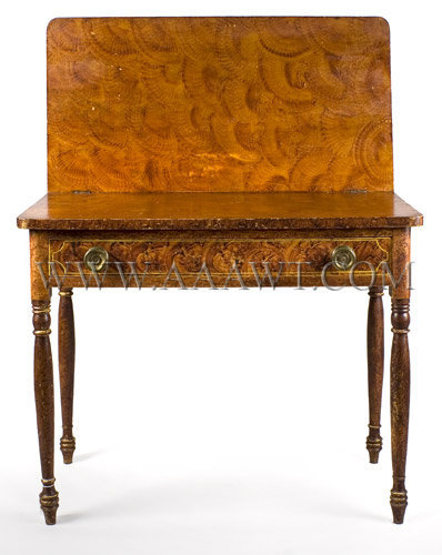 Painted Card Table, a Rare and Fine Fancy Paint Decorated Sheraton Games Table South Eastern, Massachusetts, Circa 1825, entire view 2