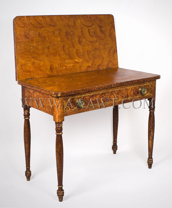 Painted Card Table, a Rare and Fine Fancy Paint Decorated Sheraton Games Table South Eastern, Massachusetts, Circa 1825, angle view 1