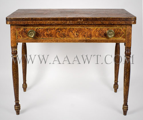Painted Card Table, a Rare and Fine Fancy Paint Decorated Sheraton Games Table South Eastern, Massachusetts, Circa 1825, entire view 1
