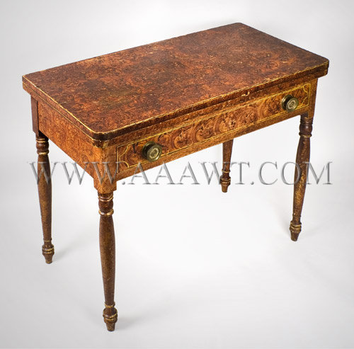 Painted Card Table, a Rare and Fine Fancy Paint Decorated Sheraton Games Table South Eastern, Massachusetts, Circa 1825, angle view 2