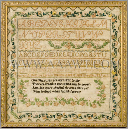 Antique Needlework, Sampler by Sarah Bellows, age 9, entire view