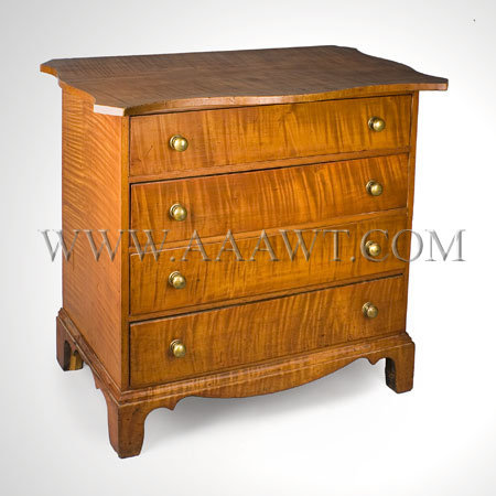 BOLDLY FIGURED CURLY MAPLE CHEST UPPER CONNECTICUT RIVER VALLEY Circa 1800, entire view