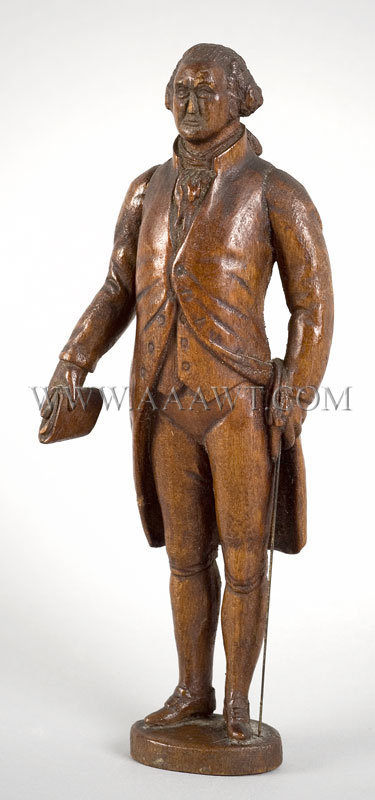 Antique Carving, George Washington Figure, angle view