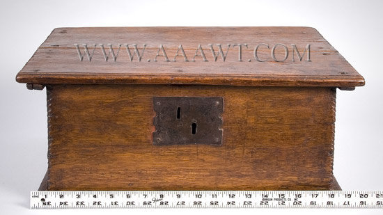 Antique Tabletop Bible Box, Eastern Massachusetts, Circa 1680 to 1700, with ruler for scale