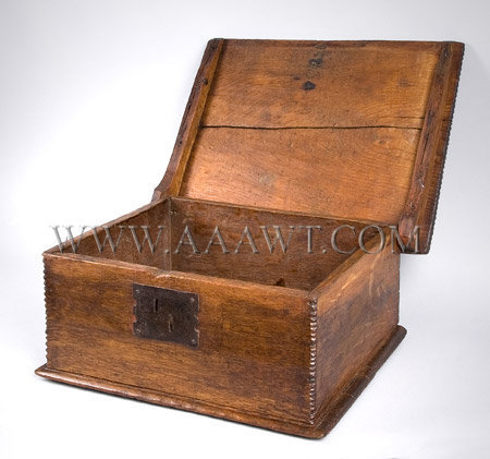 Antique Tabletop Bible Box, Eastern Massachusetts, Circa 1680 to 1700, open view
