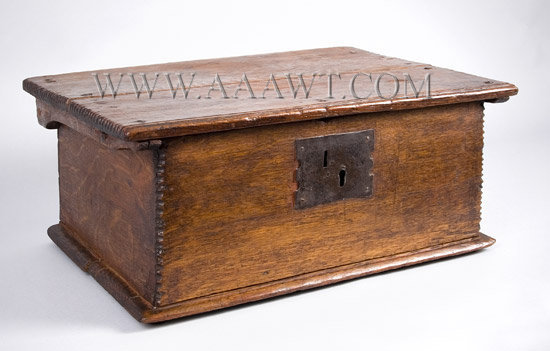 Antique Tabletop Bible Box, Eastern Massachusetts, Circa 1680 to 1700, angle view 2