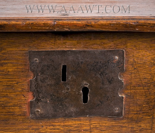 Antique Tabletop Bible Box, Eastern Massachusetts, Circa 1680 to 1700, lock detail