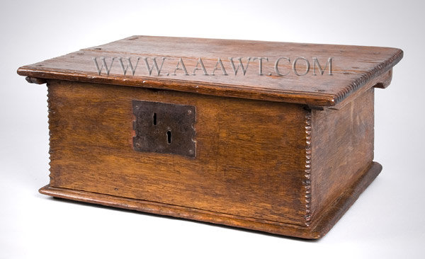 Antique Tabletop Bible Box, Eastern Massachusetts, Circa 1680 to 1700, angle view 1