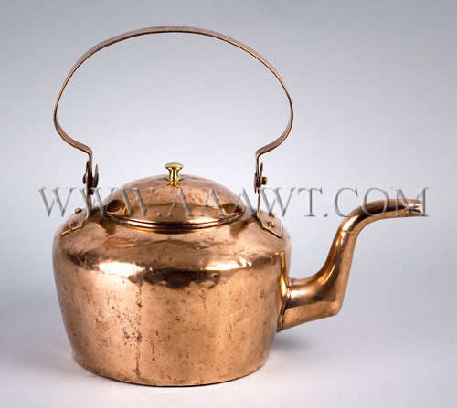 Copper Tea Kettle  By Andrew Humbert & Co.  Pittsburgh, PA  Circa 1815 - 1819, entire view