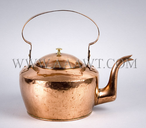 Copper Tea Kettle  By C. Keifer  Lancaster, PA  Circa 1848, entire view